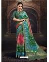 Multi Colour Designer Party Wear Chanderi Jacquard Sari