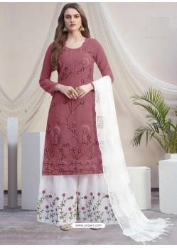 Old Rose Designer Georgette Palazzo Salwar Suit