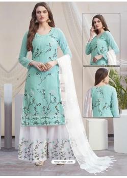 Sky Blue Designer Georgette Palazzo Salwar Suit