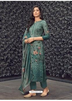 Grayish Green Designer Pure Maslin Palazzo Salwar Suit