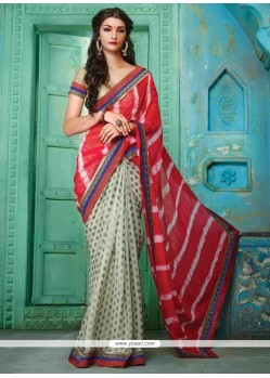 Demure Georgette Cream And Red Designer Traditional Sarees