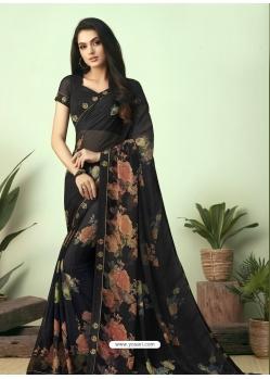 Black Latest Designer Casual Sari