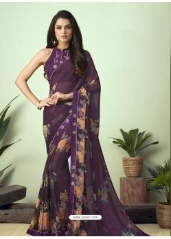 Purple Latest Designer Casual Sari