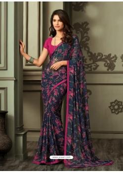 Navy Blue Latest Designer Casual Sari