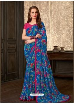 Blue Latest Designer Casual Sari