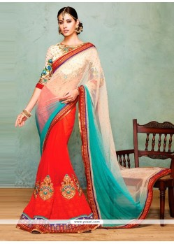 Glowing Off White And Red Shade Net And Georgette Saree