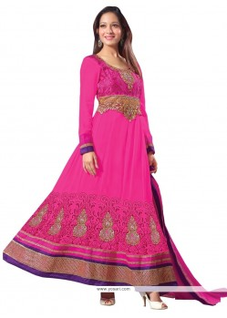 Mesmeric Pink Faux Georgette Anarkali Salwar Kameez