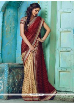 Amusing Beige And Maroon Designer Traditional Sarees