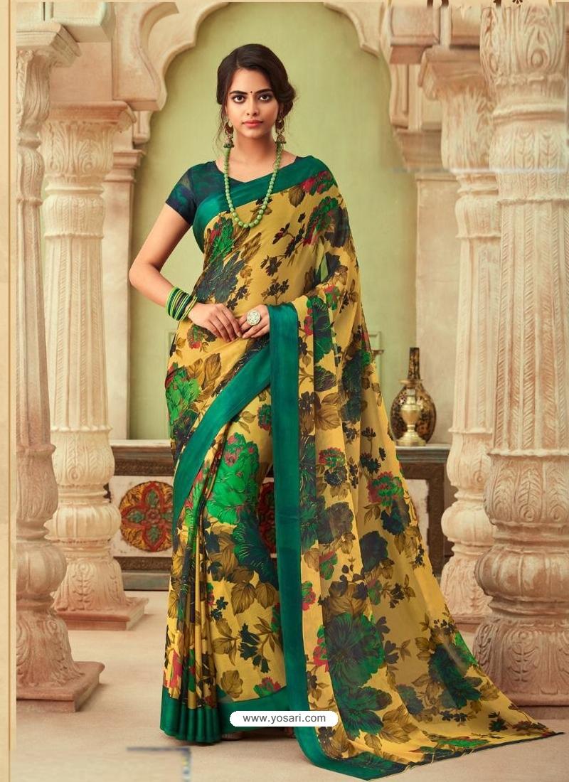 Yellow Latest Designer Casual Sari