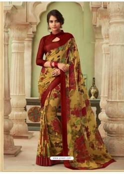Mustard Latest Designer Casual Sari