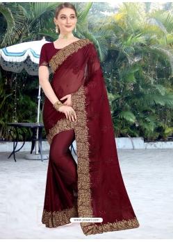 Maroon Designer Party Wear Honey Chiffon Sari