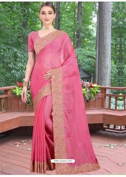 Hot Pink Designer Party Wear Honey Chiffon Sari