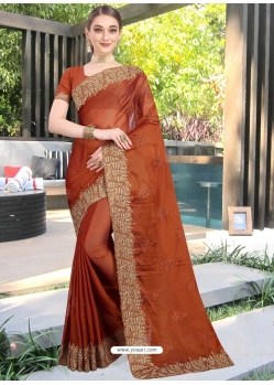 Rust Designer Party Wear Honey Chiffon Sari