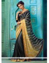 Prominent Faux Crepe Black Lace Work Designer Traditional Sarees