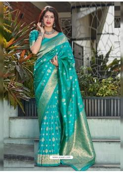 Turquoise Designer Party Wear Banarasi Silk Sari