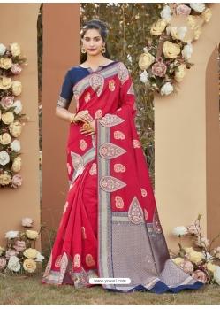 Dark Peach Designer Party Wear Silk Sari