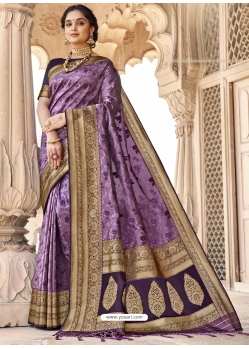 Lavender Designer Party Wear Silk Sari