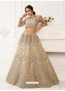 Light Beige Stylish Designer Wedding Wear Net Lehenga Choli