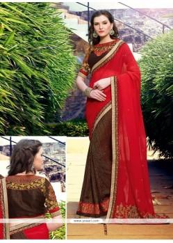 Captivating Brown And Red Embroidered Work Georgette Half N Half Designer Saree