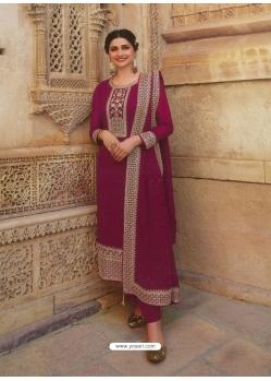 Rose Red Designer Faux Georgette Straight Salwar Suit