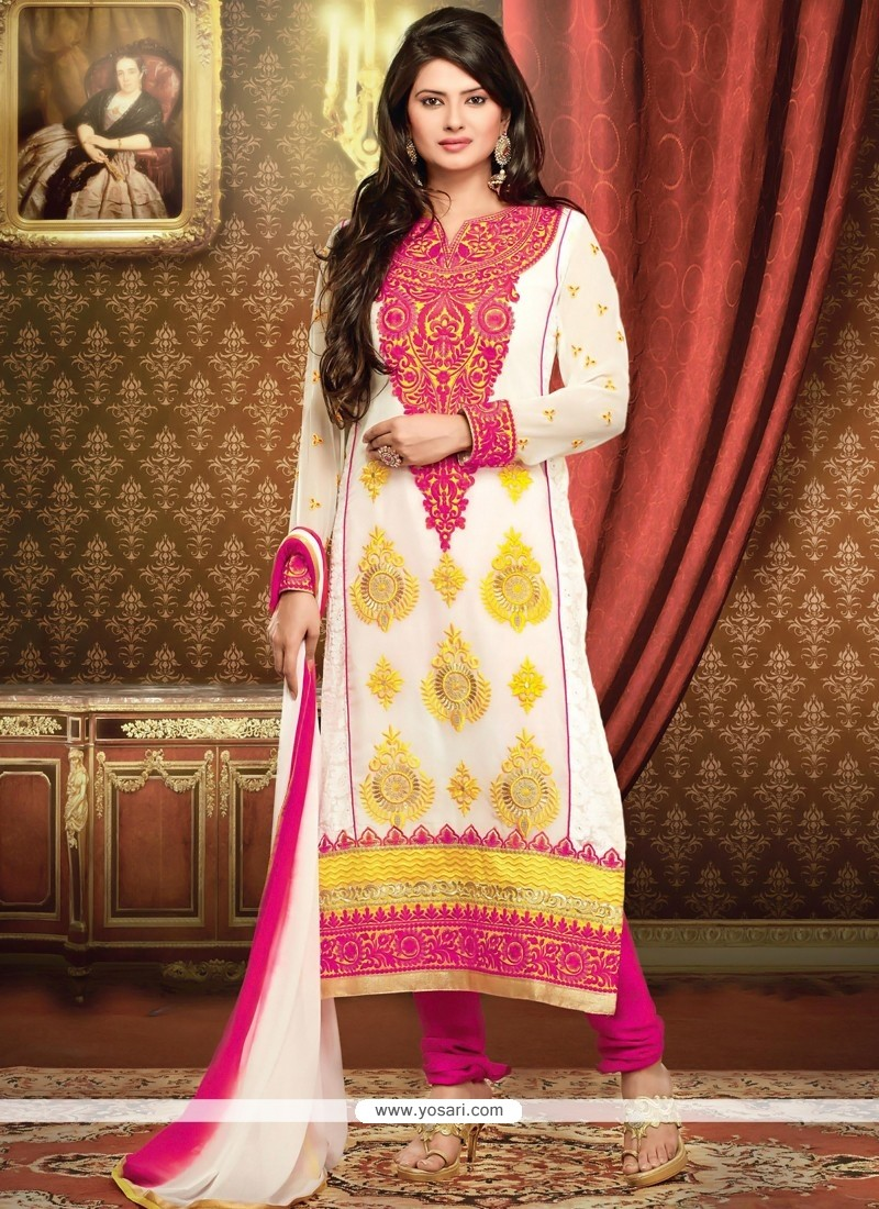 Off White And Pink Resham Churidar Salwar Suit