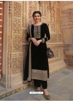 Black Designer Faux Georgette Straight Salwar Suit
