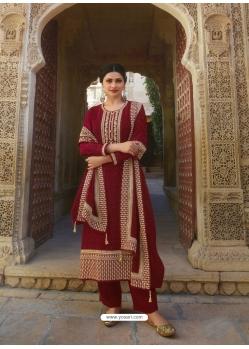 Maroon Designer Faux Georgette Straight Salwar Suit