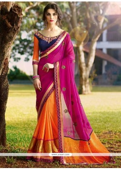 Fascinating Hot Pink And Orange Embroidered Work Half N Half Designer Saree