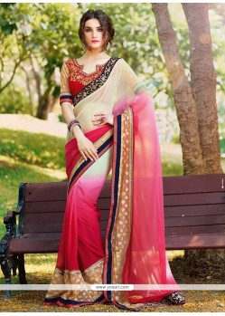 Magnetize Jacquard Cream And Pink Designer Saree