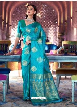 Turquoise Designer Party Wear Pure Satin Sari