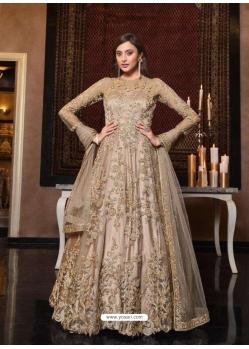 Gold Latest Designer Bridal Party Wear Soft Net Indo Western Suit