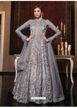 Grey Latest Designer Bridal Party Wear Soft Net Indo Western Suit
