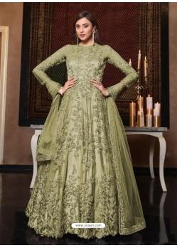 Olive Green Latest Designer Bridal Party Wear Soft Net Indo Western Suit