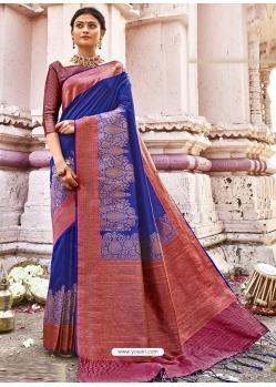 Royal Blue Designer Party Wear Silk Sari