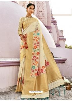 Off White Designer Party Wear Silk Sari