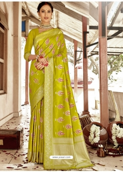 Parrot Green Designer Party Wear Silk Sari