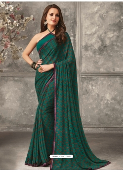 Teal Designer Casual Wear Georgette Sari