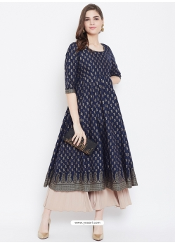 Navy Blue Readymade Designer Party Wear Kurti
