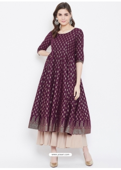 Purple Readymade Designer Party Wear Kurti