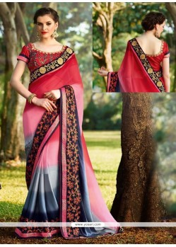 Ideal Georgette Lace Work Designer Saree