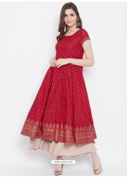 Red Readymade Designer Party Wear Kurti