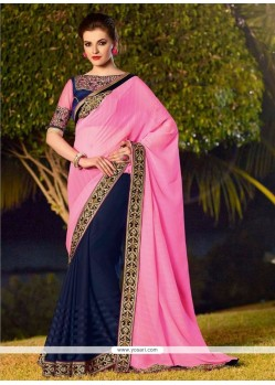 Celestial Georgette Embroidered Work Half N Half Designer Saree