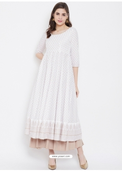 White Readymade Designer Party Wear Kurti