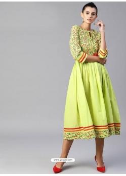 Parrot Green Readymade Designer Party Wear Kurti