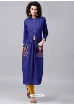 Royal Blue Readymade Designer Party Wear Kurti