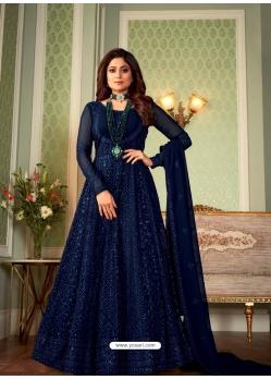 Dark Blue Latest Designer Party Wear Georgette Gown Suit