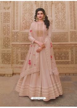 Light Beige Latest Designer Party Wear Dola Silk Anarkali Suit