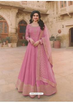 Light Pink Latest Designer Party Wear Dola Silk Anarkali Suit