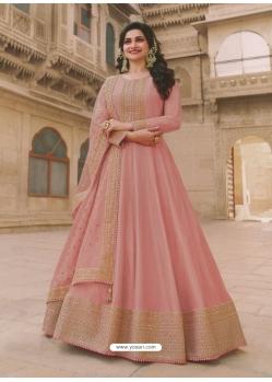 Peach Latest Designer Party Wear Dola Silk Anarkali Suit