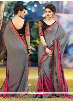 Trendy Georgette Grey Casual Saree